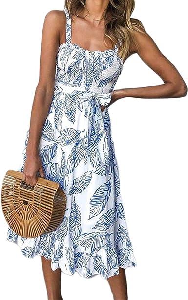 Womens Summer Bohemia Cotton Evening Party Cocktail Beach Sundress Maxi Dress