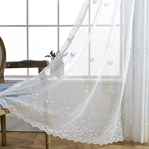 pureaqu Embroidered Butterfly Extra Wide Sheer Curtains for Bedroom Patio Doors Rod Pocket Top White Sheer Curtain with Beads Window Treatment Draperies for Dining Room 1 Panel W114xH98