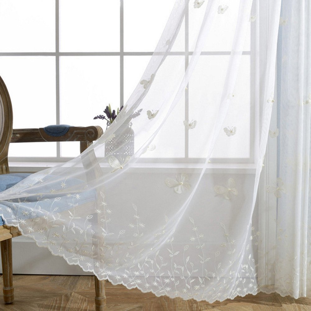 pureaqu Embroidered Butterfly Luxury Window Sheer Curtain Panel for Living Room Bedding Room Romantic Tulle Window Semi Sheer Voile Curtain Drapes for Sliding Glass Door 1 Panel W39xH84 Inch