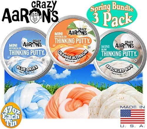 Crazy Aarons Thinking Putty Mini Tins Orange Blossom Hypercolor, Speckled Egg Glow & Blue Skies Hypercolor Spring Easter Basket Bundle - 3 Pack