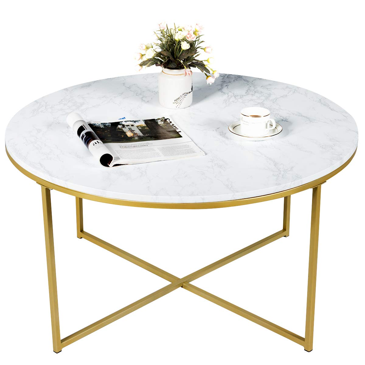 Giantex Coffee Table Round Adjustable W/Gold Print Metal Frame, X-Shape Beside Sofa for Living Room Accent Furniture Tea Table (36''x36''x19''(LxWxH)) by Giantex