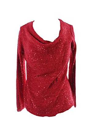 f7d03971b9afc INC Womens Knit Sequined Pullover Sweater Red M at Amazon Women s ...