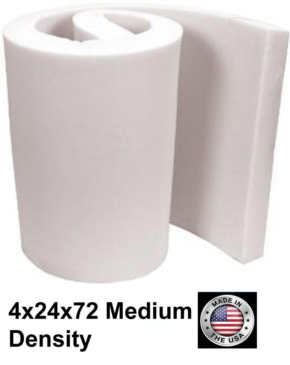 FoamTouch Upholstery Foam Cushion Medium Density Standard, 4'' L x 24'' W x 72'' H