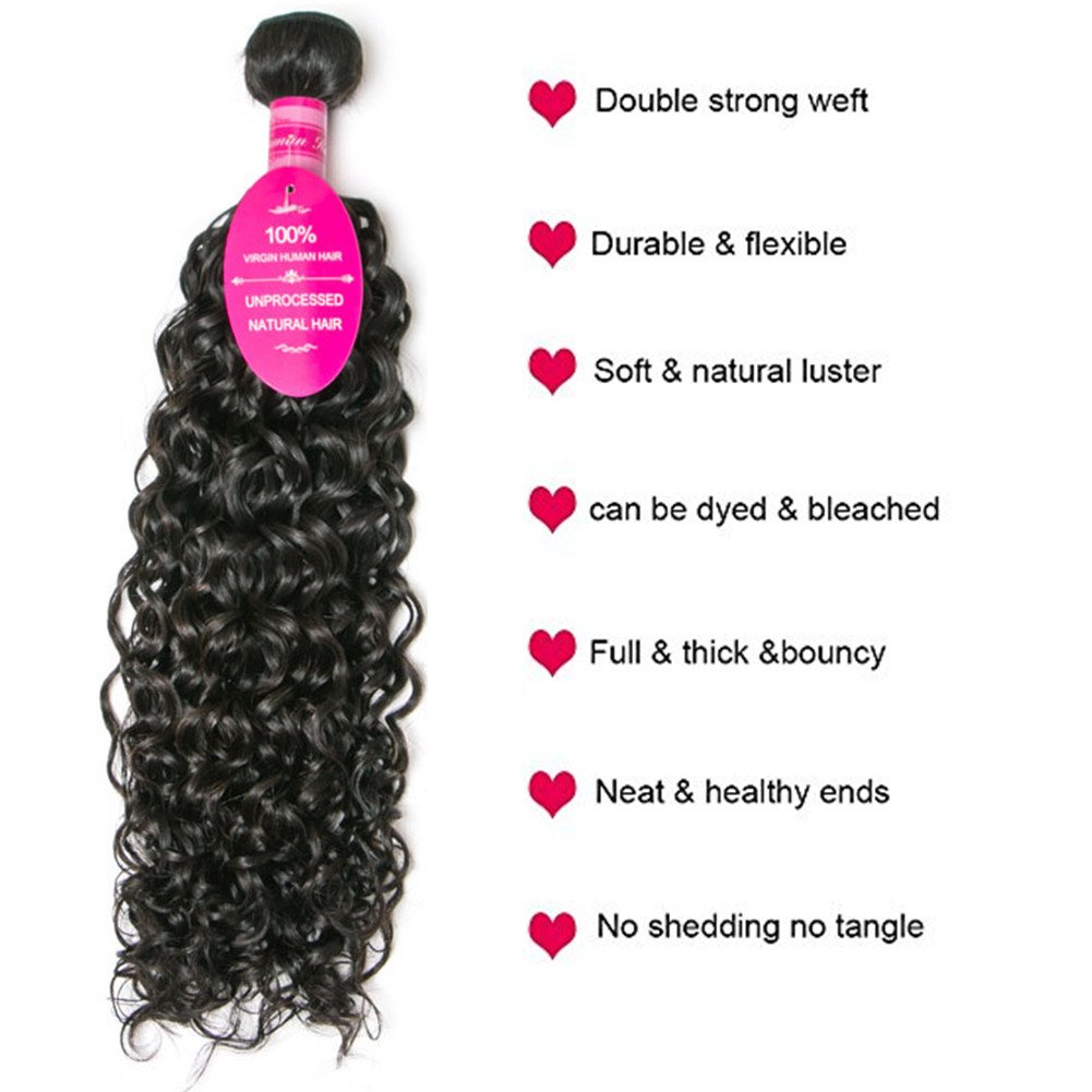 Brazilian Virgin Hair 4 Bundles with Closure Water Wave Hair Bundles with 4x4 Free Part Closure Unprocessed Virgin Human Hair (20 22 24 26 with 18, Natural Color) by Younsolo (Image #4)