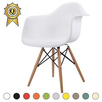 Mobistyl® Verkauf 1 X Design Sessel Scandinavian Design Natürliches Buche  Beine. Sitz Weiß
