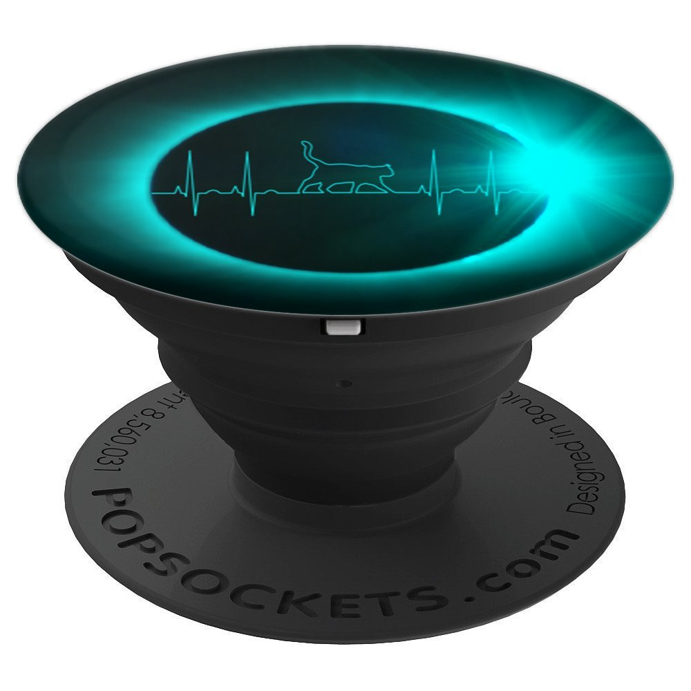 Solar Eclipse & Cat Ekg Heartbeat - PopSockets Grip and Stand for Phones and Tablets