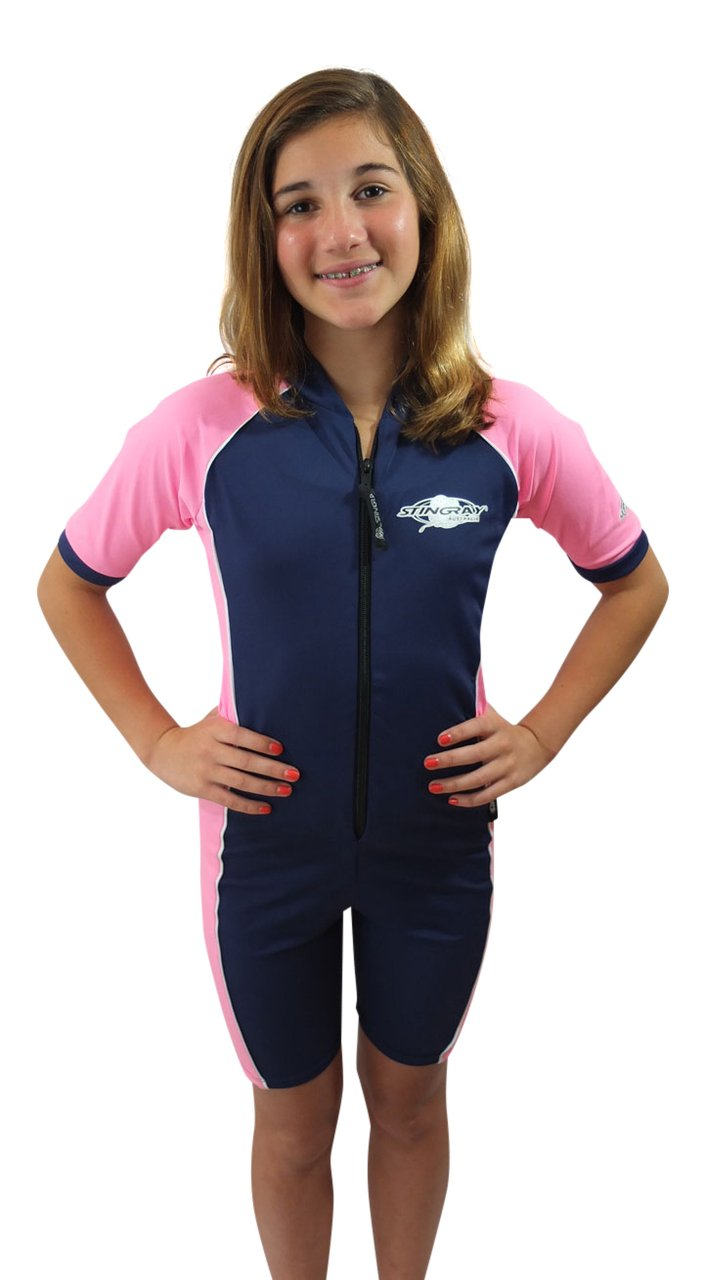Stingray Australia Girls Navy/Pink UV Sun Protective Rashguard Swimsuit - UPF/SPF Protection Suit, navy/pink, 6 by Stingray Australia