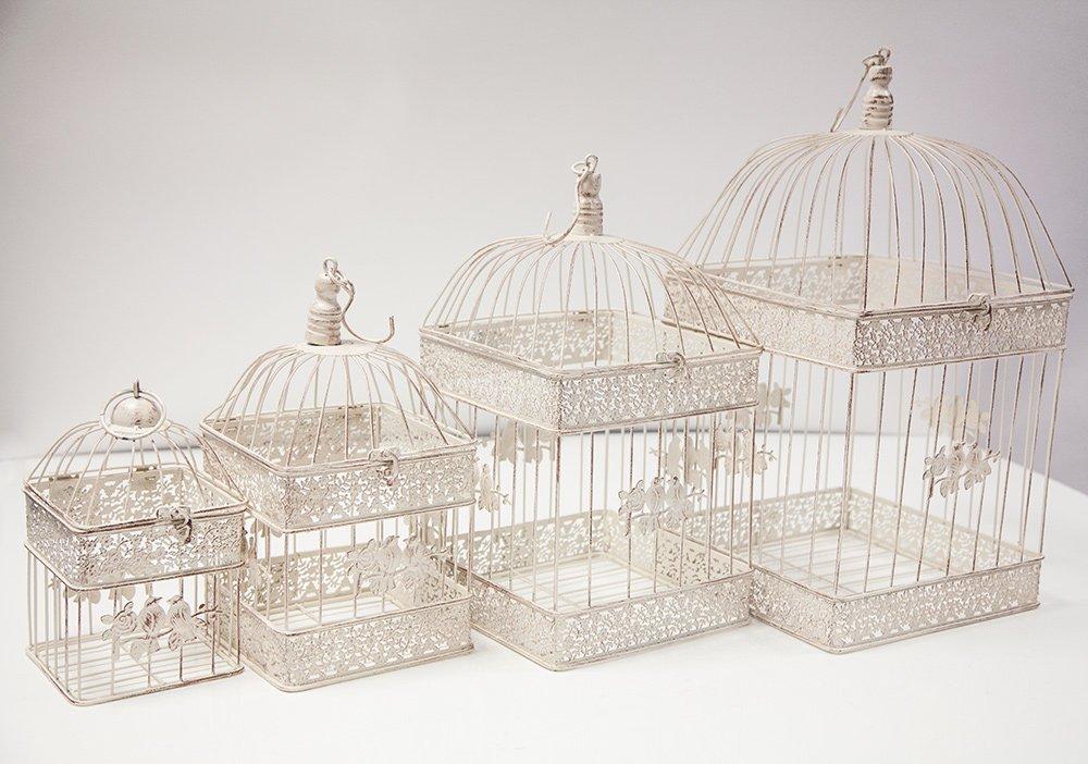 Rústico cuadrado Birdcage juego de 4Centro dt1001decoración para boda casa jardín Decor Trader