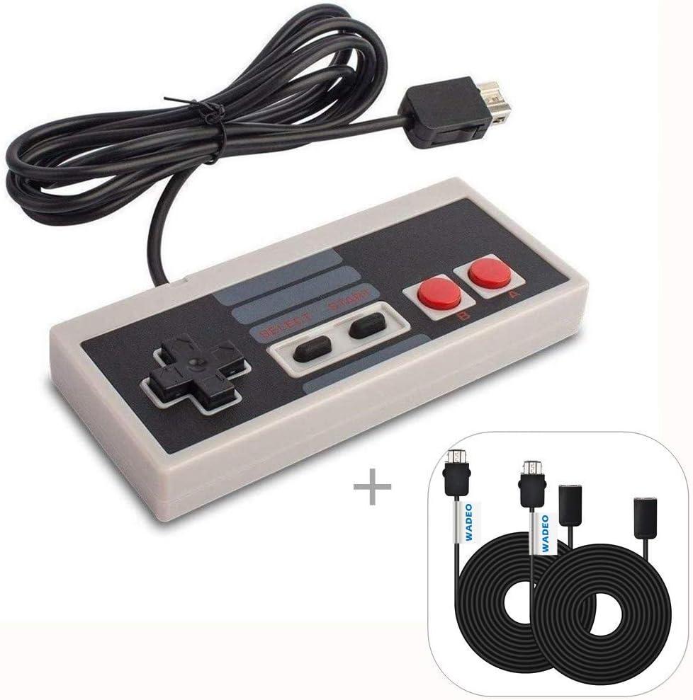WADEO Nintendo Clásica, NES Mimi Classic Mando Controlador de Juegos Consolas con Cable de 1,8m y 2 Cables Extensibles de 3M para Nintendo NES Classic Mini Edition
