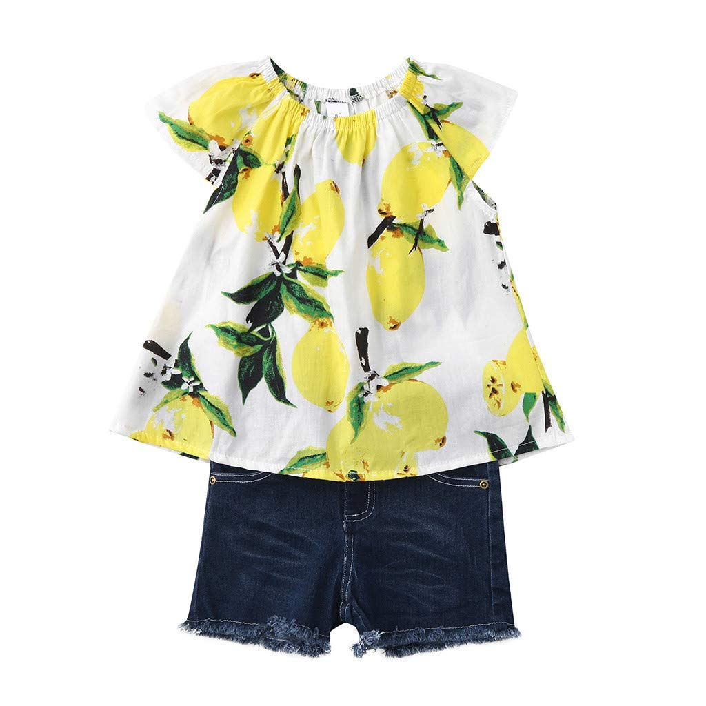 2019 Baby Girl Outfits, 2-Peice Toddler Kids Fruits Lemon Print Tops Shirt +Hole Denim Jean Shorts Clothes Sets (2-3 Years, Yellow) by Hopwin Baby girls Suits (Image #5)