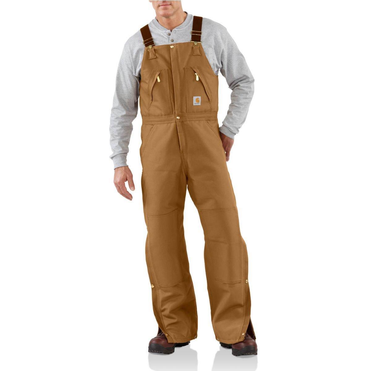 Carhartt Men's Quilt Lined Zip To Waist Biberalls,Brown,38 x 32