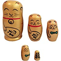 HOMYL Wooden Russian Nesting Fortune Cat Matryoshka 5 Dolls Set Hand Painted Golden