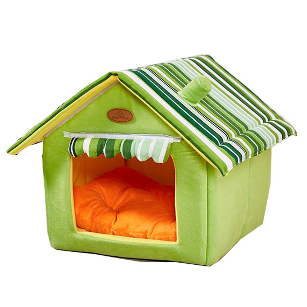Green X-Large Green X-Large QNMM Cat and dog house indoor soft house shape pet nest cat bed dog bed small animal bed sponge material portable indoor pet house easy to carry for comfortable outings and short trips,Green,XL