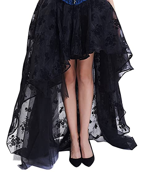 2446a3ea3c2a Sexy4Lady Women s Steampunk Vintage Goth Floral Lace Casual Dancing Party  High-Low Black X-