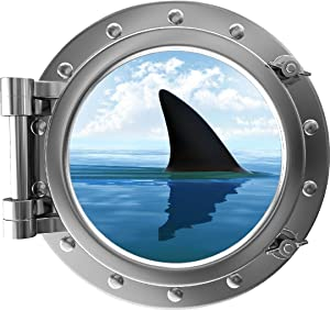 "12"" Porthole 3D Window Wall Decal Shark Fin Silver Port Scape Under The Sea Water Ocean Fish Childrens Wall Art Kids Boys Room Decor Removable Fabric Vinyl Peel and Stick Instant View"
