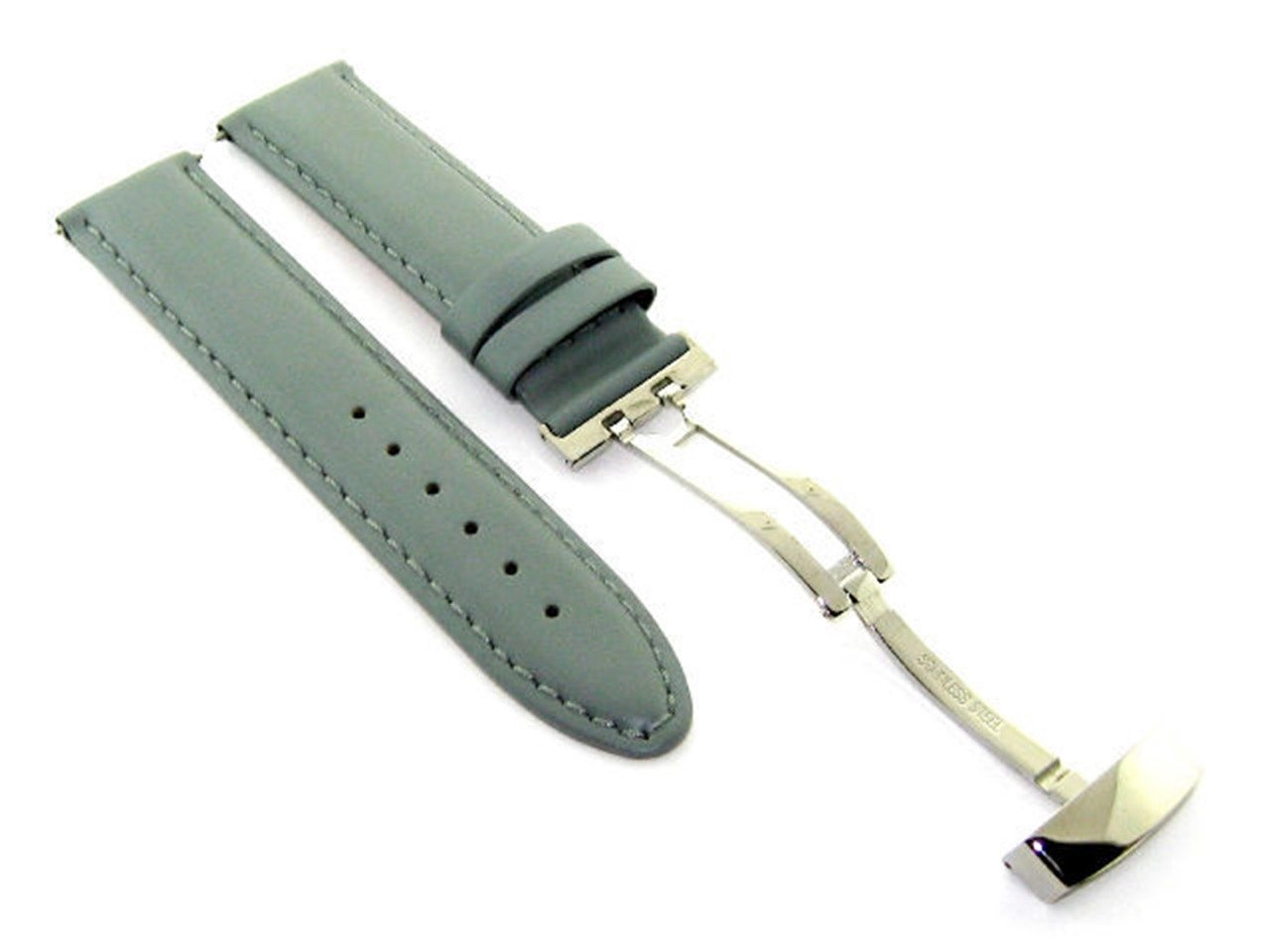 18 – 19 – 20 – 22 – 24 mm Smooth Leather Watch Band Strap Deployment Clasp for Citizenグレー# 8 18mm グレー 18mm|グレー グレー 18mm B07DHM14M7
