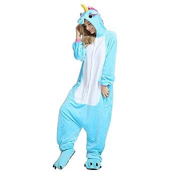 WhiFan Pijamas Unisexo Adulto Cosplay Traje Disfraz Adulto Unicornio Animal Pyjamas Ropa de Halloween y Navidad