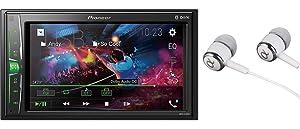 "Pioneer MVH-210EX 6.2"" VGA Touchscreen WebLink Double DIN, Bluetooth USB MP3 Aux Input, in-Dash Siri Eyes Free & Google VR, Multi-Color Illumination Digital Media Receiver/Free ALPHASONIK Earbuds"