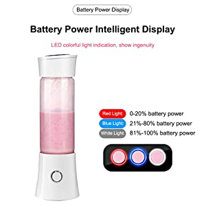 Portable Mini Blender, Juicer Blender Smoothie Maker with 3D 6 Blades ,USB Rechargeable Juice Mixer 100W 480ML,with 4000mAh Rechargeable Battery, Mini Personal Fruit Blender for Home,Office,Sports,Travel, Outdoors (Color: White)