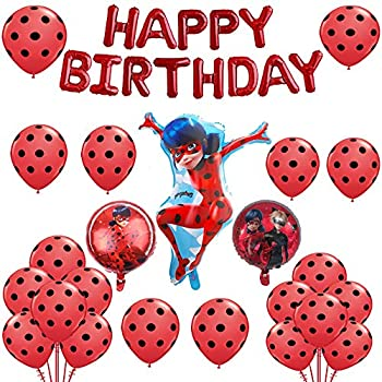 Ladybug Aluminum Foil Balloons Set Happy Birthday Party Decoration Supplies for Ladybug Superhero Girl Kids (24 Pack)