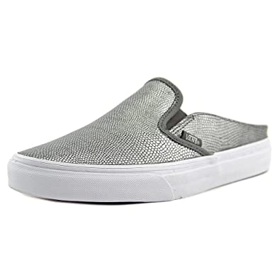 45d007787f Vans Women Classic Slip-On Mule - Embossed Leather (gray   true white)