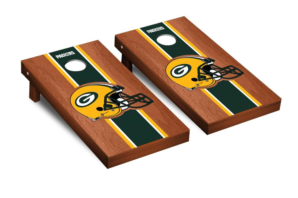 NFL Green Bay Packers Rosewood Stained Stripe Version Football Corn hole Game Set, One Size