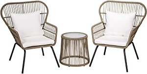 Barton 3-Piece Modern Conversation Bistro Chat Set Patio Wicker (2) Chairs, Glass Top Side Table with Cushions Included, Beige