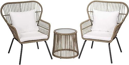 Barton 3-Piece Modern Conversation Bistro Chat Set Patio Wicker 2 Chair