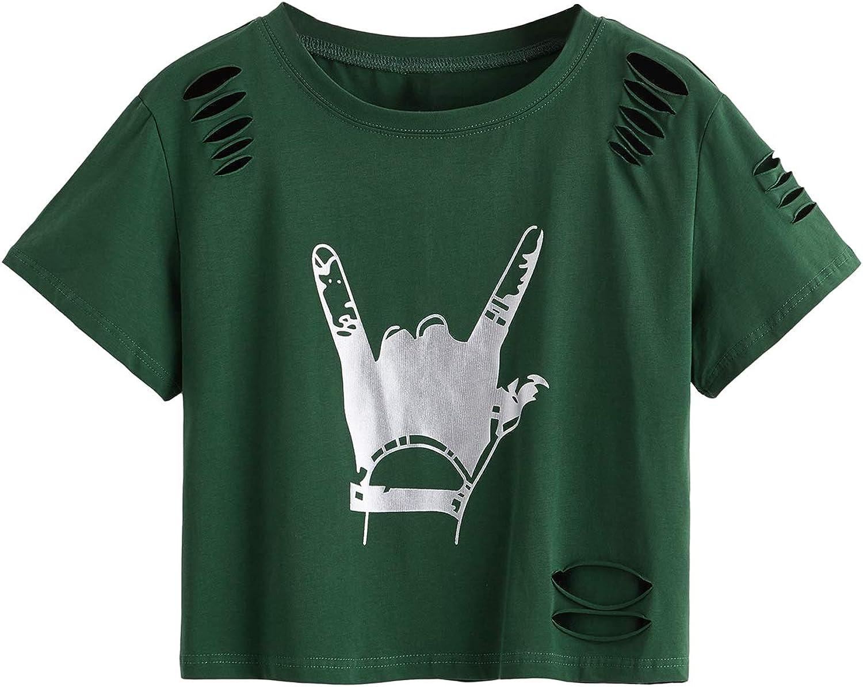 SweatyRocks Women's Short Sleeve T Shirt Graphic Print Distressed Crop Top