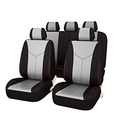NEW ARRIVAL -Car Pass AIR FRESH Universal fit Car Seat Covers 11 PCS Full Set,Airbag compatiable, Black with Light Gray: Automotive