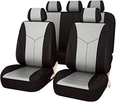 CAR PASS 11PCS Elegant Luxurous PU Leather Automotive Universal Seat Covers Set Package-Universal fit for Vehicles With 5mm Composite Sponge Inside,Airbag Compatible /… Dark Gray