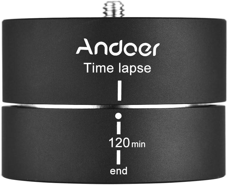 Aleación de Aluminio 360° 120 Minutos Andoer ROTADOR lapsepro rotación de trípode estabilizador Adaptador para trípode para excosports ILDC teléfono móvil