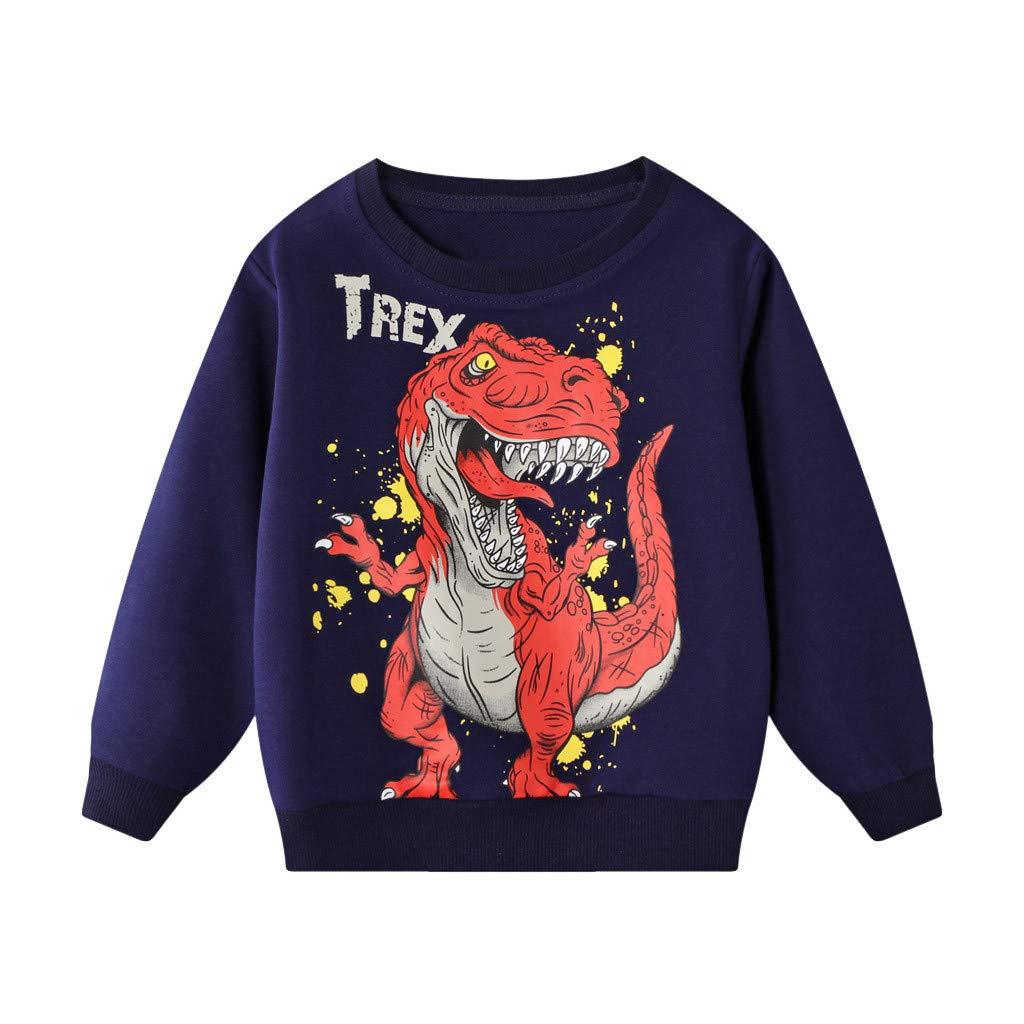 KOLY Cime di Stampa di Modo delle Ragazze dei Capretti Felpa Ragazzi del Bambino Dinosauro con Cappuccio Maglie e Maglioni di Autunno della Molla dei Vestiti dei Bambini
