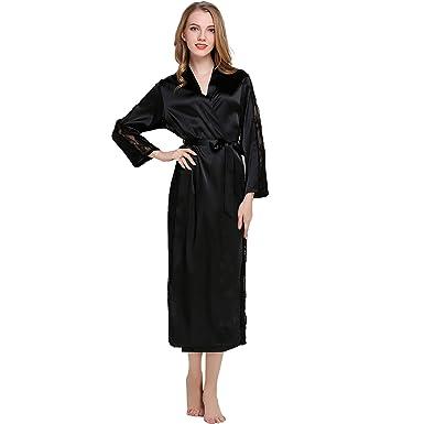 Amazon.com  coowalk Women s Nightgown Long Kimono Robe 9791f6d2b3