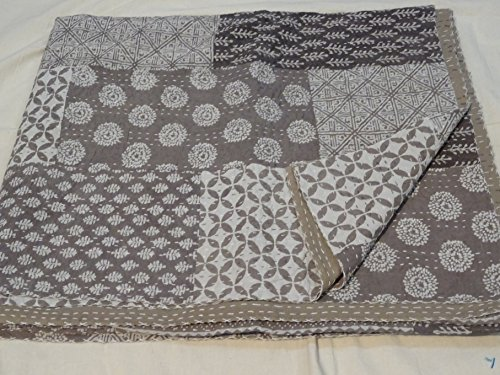 Tribal Asian Textiles Traditional Patchwork Handmade Kantha Quilt Throw Queen Size Ajrakh Bedcover Ajrakh Block Print 001