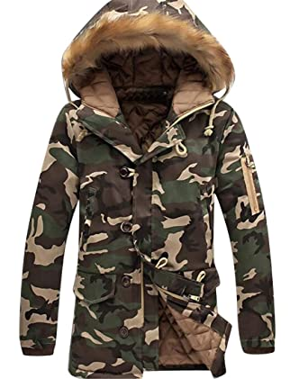918b5bdae27 Bravepe Men Faux Fur Hoodie Plus Size Thermal Camouflage Quilted Jacket  Parka Coat Outerwear 1 XS