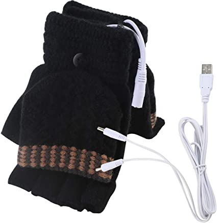Cn /_ USB Calentador Eléctrico Punto Guantes Unisex Cálido de Invierno Medio Dedo