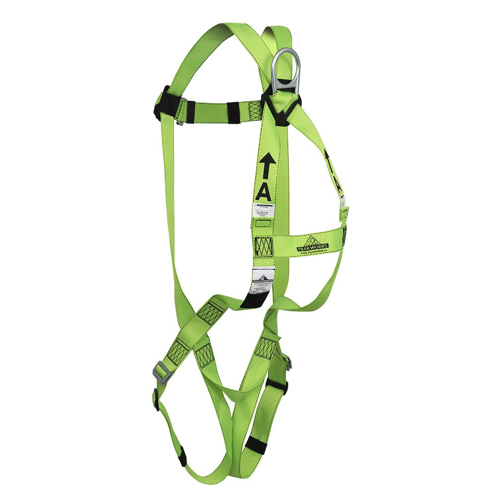 Peakworks Fall Protection V8001000 Industrial Universal Fit Green ANSI Compliant Safety Harness Construction