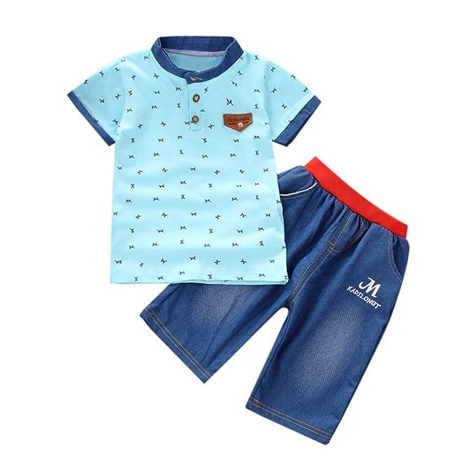 2130c1ae4 Counjunto de Ropa Bebé Niño Verano 2pc Camisa de Manga Corta Camiseta  Pantalones Cortos de Mezclilla Trajes Conjunto de Ropa para Bebés Niños 0-4  años ...