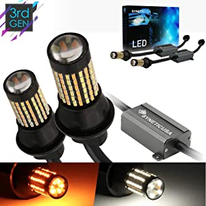 Syneticusa Error Free Canbus Dual Color Switchback LED Turn Signal Light Bulbs No Hyper Flash All in One Built In Resistors (Turn Signal-Amber, 7443)