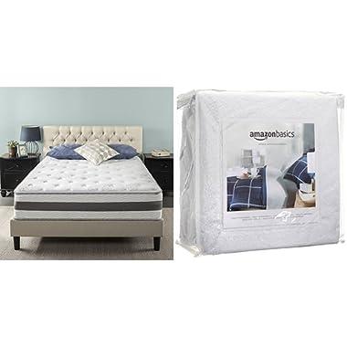 Zinus 12 Inch Gel-Infused Memory Foam Hybrid Mattress, Queen with AmazonBasics Hypoallergenic Vinyl-Free Waterproof Mattress Protector, Queen