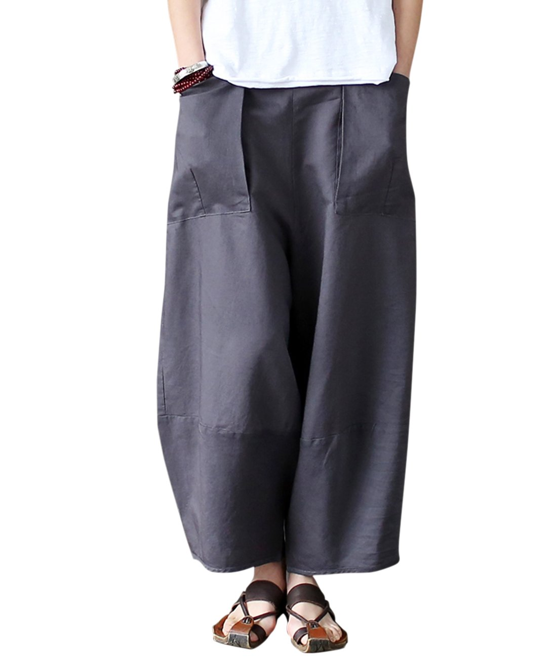 Aeneontrue Women's Patchwork Wide Leg Pants Trousers with Big Pockets Gray S