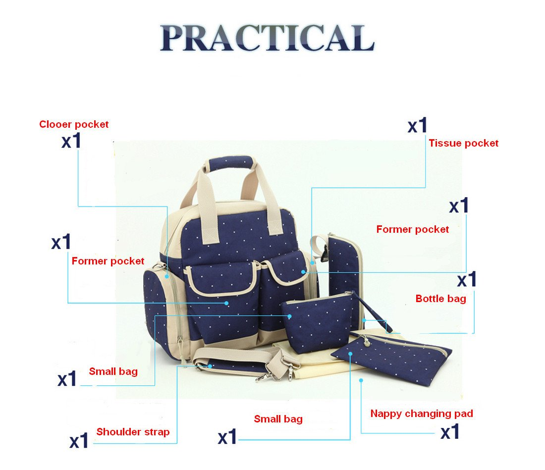 Baby Lovess 5 In 1 Diaper Tote Bags Baby Nappy Bag Mummy Handbag Backpack,Dark Blue Dot