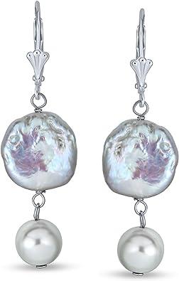 18k gold plated dangle purple biwa pearls earrings Biwa rainbow pearls earrings