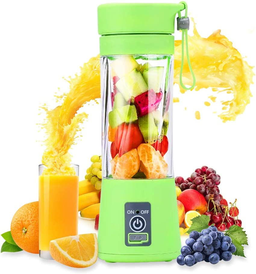 USB Rechargeable Juicer Cup,Portable Blender,Personal Blender, Small Fruit Mixer, Electric USB Rechargeable Fruit Mixing Machine Home,Travel 380ml (green)