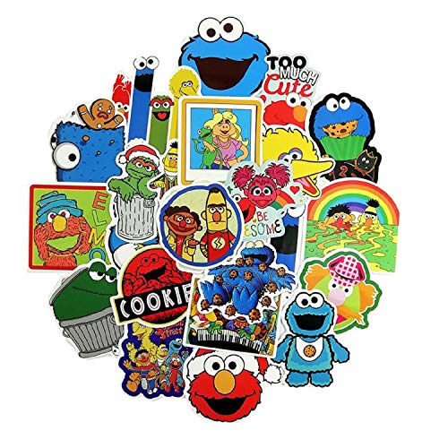 50PCS American Sesame Street Stickers for Laptop Water Bottle Luggage Snowboard Bicycle Skateboard Decal for Kids Teens Adult Waterproof Aesthetic Stickers