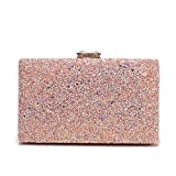 Women's Elegant Sparkling Glitter Evening Clutch Bags BlingEvening Handbag Purses For Wedding Prom Bride(Pink)