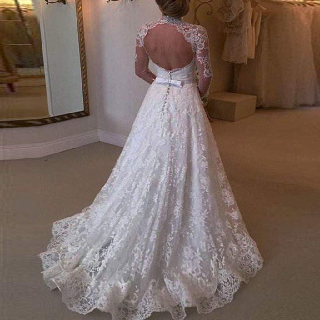 UNSKAM Women Wedding Dress Costume Renaissance Fancy Dress White Wrapped High Waist Dress with Flare Sleeve Cotton Drawstring Dress Womens Lace Long Sleeve Maxi Dress
