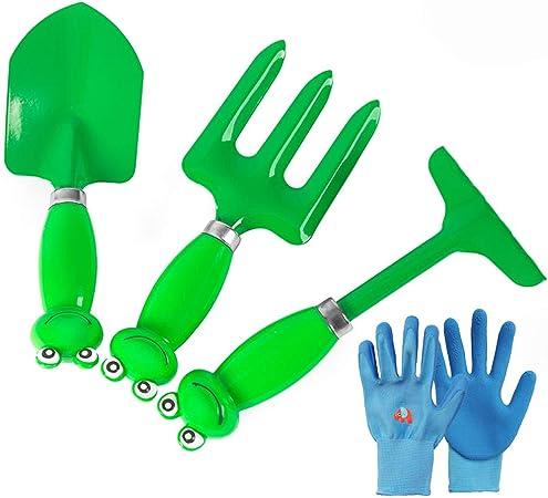 GLXQIJ Juego De 4 Piezas para Herramientas De JardíN para NiñOs, Kit De Juguetes De JardineríA Al Aire Libre para Interiores con Arena De Playa, Regalo Ideal para NiñAs De 5-13 AñOs,Green: