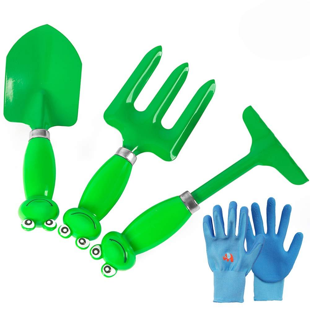 Kids Garden Tool 4 Piece Set,Beach Sand Indoor Outdoor Gardening Toy Kit, Ideal Gift for 5-13 Year Old Boys Girls,Green by GLXQIJ (Image #1)